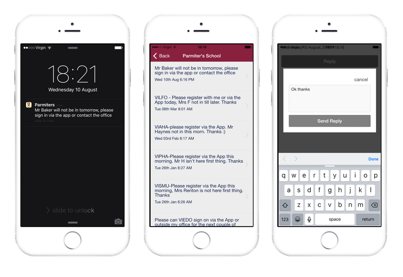 Push notifications and replies
